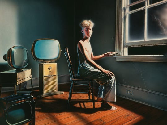 "This Hugh Syme painting served as cover art for 1985 Rush album ""Power Windows."""