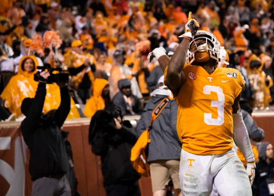 Tennessee running back Eric Gray (3) celebrates after scoring a touchdown during the Tennessee and Vanderbilt game on Saturday, November 30, 2019.