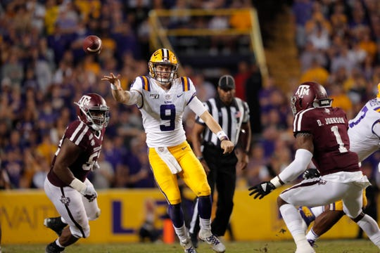 LSU quarterback Joe Burrow (9) passes in the first half of an NCAA college football game against Texas A&M in Baton Rouge, La., Saturday, Nov. 30, 2019. (AP Photo/Gerald Herbert)
