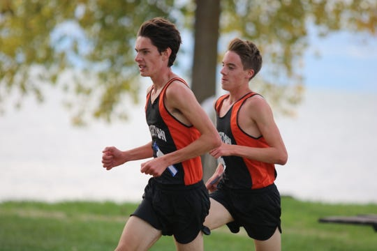 Zach Stewart (left) and Jack Spamer of Brighton have qualified for the Foot Locker national cross country meet.