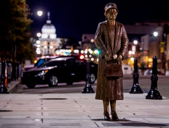 The Rosa Parks statue in downtown Montgomery, Ala., on Sunday evening, December 1, 2019.