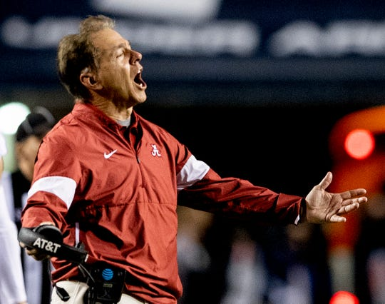 Alabama head coach Nick Saban during second half action in the Iron Bowl at Jordan-Hare Stadium in Auburn, Ala., on Saturday, November 30, 2019.