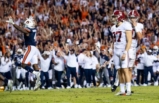 Alabama place kicker Joseph Bulovas (97) watches as his last second field goal misses against Auburn in the Iron Bowl at Jordan-Hare Stadium in Auburn, Ala., on Saturday, November 30, 2019.