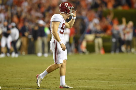 Nov 30, 2019; Auburn, AL, USA; Alabama Crimson Tide place kicker Joseph Bulovas (97) reacts to his missed field goal during the fourth quarter against the Auburn Tigers at Jordan-Hare Stadium. Mandatory Credit: John David Mercer-USA TODAY Sports