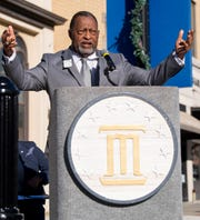 Montgomery County Commission Chairman Elton Dean speaks during the unveiling of the Rosa Parks statue  in downtown Montgomery, Ala., on Sunday, December 1, 2019.
