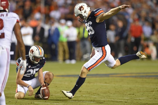 Nov 30, 2019; Auburn, AL, USA; Auburn Tigers place kicker Anders Carlson (26) kicks during the third quarter against the Alabama Crimson Tide at Jordan-Hare Stadium. Mandatory Credit: John David Mercer-USA TODAY Sports