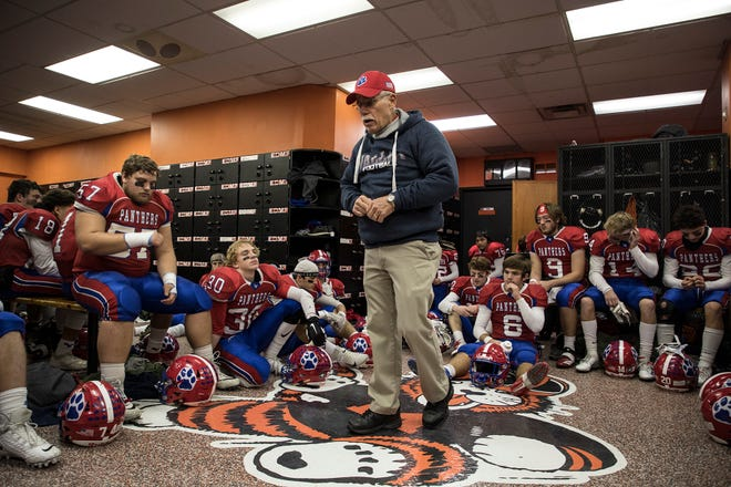 Licking Valley coach Randy Baughman talks to his team at Massillon Paul Brown Tiger Stadium, prior to taking the field for the 25-24 Division IV state semifinal win against Poland Seminary.