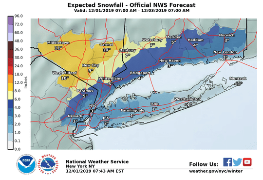 Expected snowfall in the region as of Sunday morning
