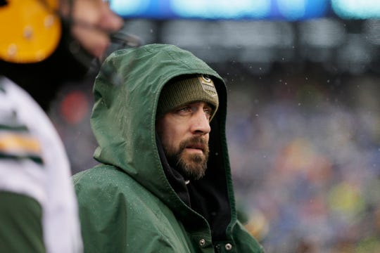 Green Bay Packers quarterback Aaron Rodgers on the sidelines during the first half of an NFL football game against the New York Giants, Sunday, Dec. 1, 2019, in East Rutherford, N.J. (AP Photo/Adam Hunger)