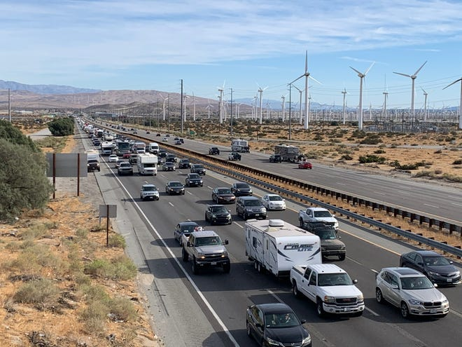 Traffic flows along Interstate 10. Barry Morgan urges motorists to slow down and drive courteously when they're traveling on Coachella Valley roadways.