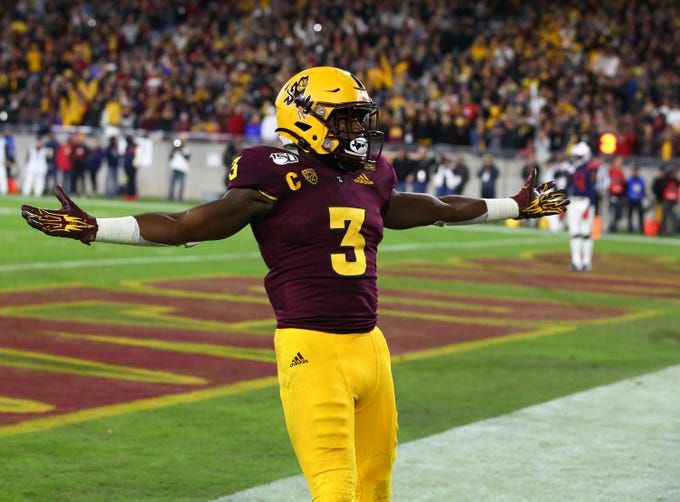 Arizona State Sun Devils running back Eno Benjamin (3) runs for a touchdown against Arizona in the second half of the 93rd Duel in the Desert on Nov. 30, 2019 in Tempe, Ariz.