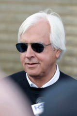 Bob Baffert is interviewed at Keeneland Race Course on October 29, 2015, in Lexington, Kentucky. (Charles Bertram/Lexington Herald-Leader/TNS)