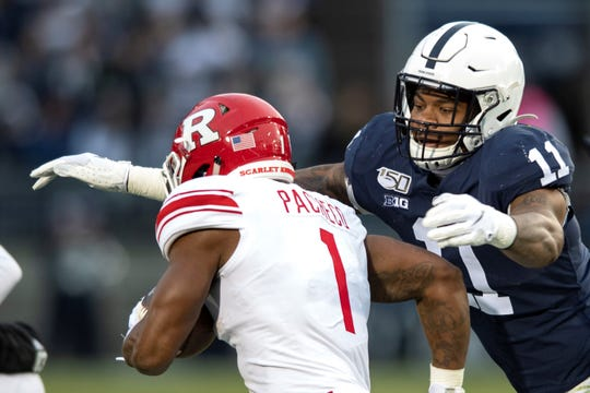 Penn State linebacker Micah Parsons (11) tackles Rutgers running back Isaih Pacheco during an NCAA college football game in State College, Pa., on Saturday, Nov. 30, 2019. (AP Photo/Barry Reeger)