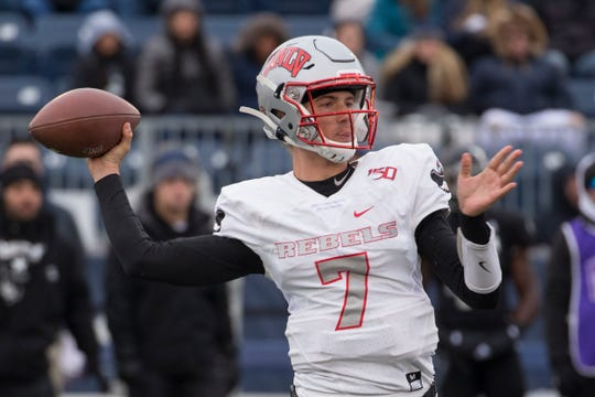 UNLV quarterback Kenyon Oblad (7) throw against Nevada in the second half of an NCAA college football game in Reno, Nev., Saturday, Nov. 30, 2019. (AP Photo/Tom R. Smedes)