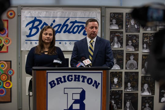 Kevin McGowan, Brighton Central School District superintendent, and Yuliya Snyder, a friend and neighbor of the Ruangswana family, held a brief press conference on Sunday, Dec. 1, 2019 at the Brighton administrative office to answer questions about 9-year-old student Mila Ruangswana, who died on Nov. 27.