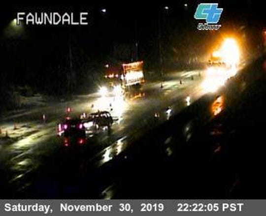This Caltrans camera shows vehicle spinouts Saturday, Nov. 30, 2019, on Interstate 5 at Fawndale Road.
