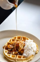 The Bananas Foster waffle at the Cast Iron Cafe on Nov. 14 in Mount Angel, Ore.