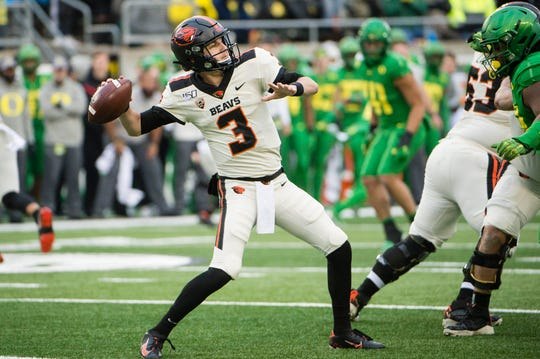 Nov 30, 2019; Eugene, OR, USA; Oregon State Beavers quarterback Tristan Gebbia (3) throws a pass during the second half against the Oregon Ducks at Autzen Stadium. The Oregon Ducks beat the Oregon State Beavers 24-10. Mandatory Credit: Troy Wayrynen-USA TODAY Sports