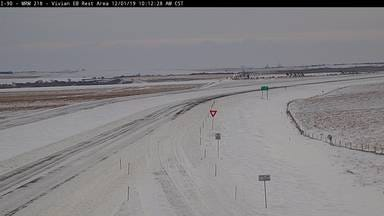 Road conditions as of 10 a.m. at the Vivian rest stop on Interstate 90.