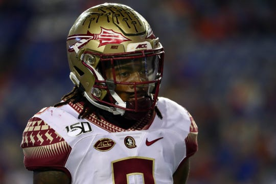 Nov 30, 2019; Gainesville, FL, USA;Florida State Seminoles defensive back Stanford Samuels III (8) works out prior to the game against the Florida Gators at Ben Hill Griffin Stadium. Mandatory Credit: Kim Klement-USA TODAY Sports