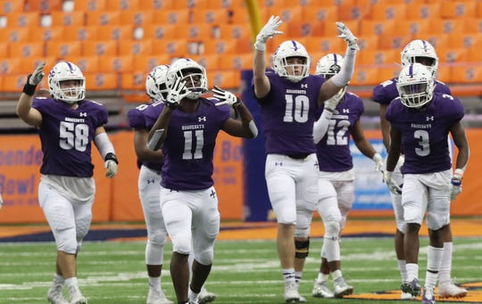 New Rochelle defeated McQuaid 28-0 to win the NYSPHSAA Class AA state championship at the Carrier Dome in Syracuse Nov. 30, 2019.