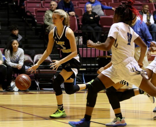 Rider's Hannah Lawrence drives to the basket against Palo Duro at the Fantasy of Lights tournament Saturday, Nov. 30, 2019, at Midwestern State University's D.L. Ligon Coliseum.