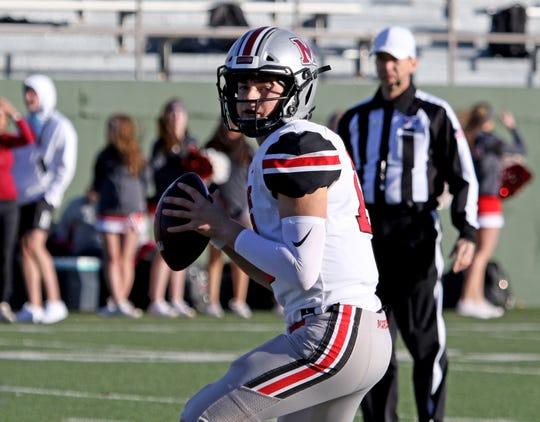 Flower Mound Marcus' Garrett Nussmeier drops back to pass against Amarillo Tascosa Saturday, Nov. 30, 2019, at Memorial Stadium in Wichita Falls.