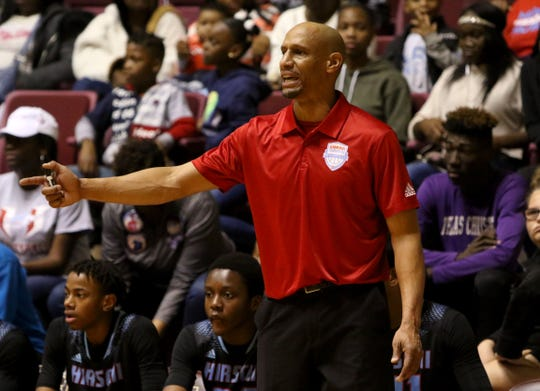 Hirschi head coach Donald Hedge in the game against Burkburnett at the Fantasy of Lights tournament Saturday, Nov. 30, 2019, at Midwestern State University's D.L. Ligon Coliseum.