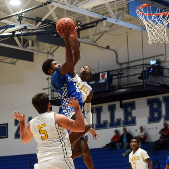 Jayvon Maughmer goes up for a shot in the lane during Chillicothe's 80-46 win against Cincinnati Lockland on Saturday night during the Zanesville Tip-Off Classic at Winland Memorial Gymnasium.