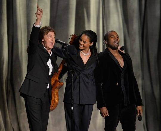 "Paul McCartney, Rihanna and Kanye West perform ""FouFiveSeconds"" at the 57th annual Grammy Awards."