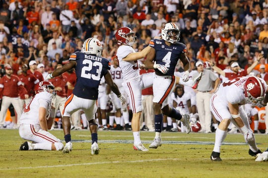 Alabama place kicker Joseph Bulovas watches his potential game-tying field goal miss during the fourth quarter against Auburn at Jordan-Hare Stadium.