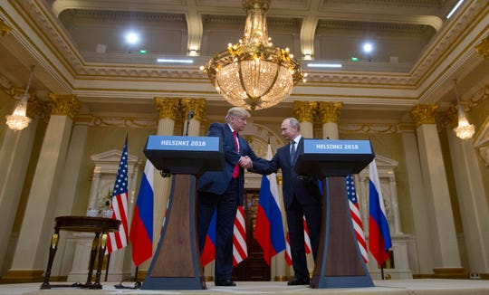 President Donald Trump and Russian President Vladimir Putin in Helsinki, Finland, on July 16, 2018.