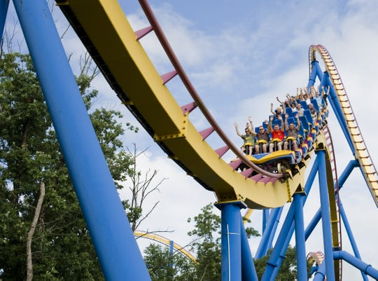 Members of the Theme Park Review club ride Nitro rollercoaster at Six Flags Great Adventure in Jackson in 2011.