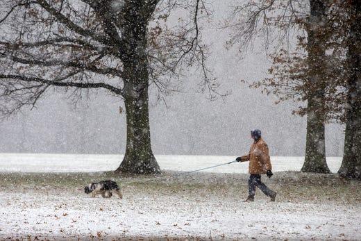 Roland Eckstein of Middletown walks his dog, Sadie Bear, in the snow at Holmdel Park in Holmdel on Monday Dec. 2, 2019.