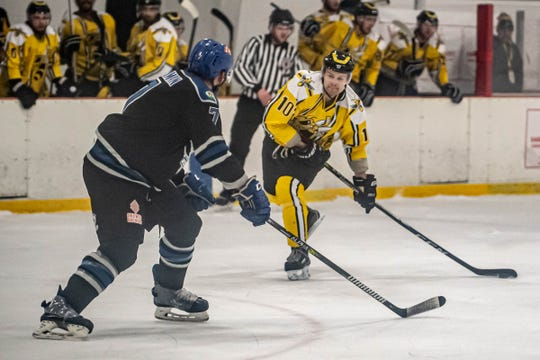 Rumble Bees Maxim Noskov (10) looks for his shot on goal during second period action against Watertown Wolves earlier in the season.