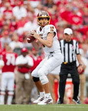 Sep 7, 2019; Madison, WI, USA; Central Michigan Chippewas quarterback Quinten Dormady (12) during the game against the Wisconsin Badgers at Camp Randall Stadium. Mandatory Credit: Jeff Hanisch-USA TODAY Sports