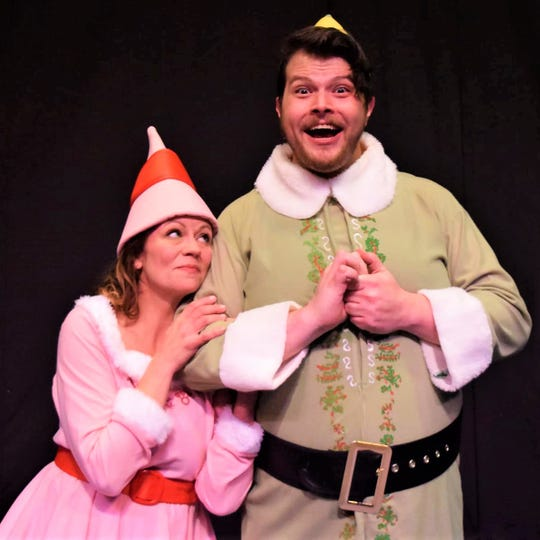 "Kate Fabrizio (Jovie) and Matt Gaska (Buddy the Elf) star in EPAC's production of ""Elf the Musical."""