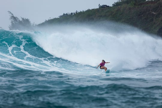Caroline Marks of Melbourne Beach, competing in the season-ending Lululemon Maui Pro at Honolua Bay, will join Hawaii's Carissa Moore as the two USA women's representatives at the 2020 Tokyo Olympics.