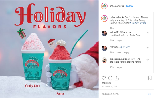 Bahama Buck's is letting is snowthis holiday season with free sno cups all day on Tuesday, Dec. 3, 2019.