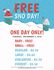 Bahama Buck's is giving out free snow cones all day on Tuesday