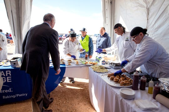 Del Mar College culinary arts student prepared a variety of dishes during a celebration of the beginning of construction on the college's Southside campus on Monday, December 2, 2019. Three centers of excellence were identified for the new campus, one of which includes hospitality and culinary arts.