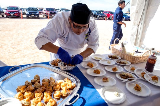 Del Mar College culinary arts student Samantha Mendez assembles a dish during a celebration of the beginning of construction on the college's Southside campus on Monday, December 2, 2019. Three centers of excellence were identified for the new campus, one of which includes hospitality and culinary arts.