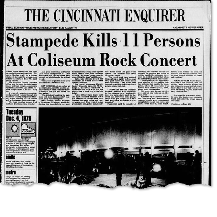 Image result for cincinnati who concert stampede  rolling stone cover
