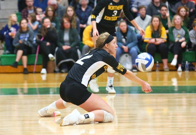 Northern Kentucky senior and Ridgewood graduate Laura Crawford makes a dig during a match earlier this season. The Norse open NCAA tournament play at 5 p.m. Friday against Michigan.