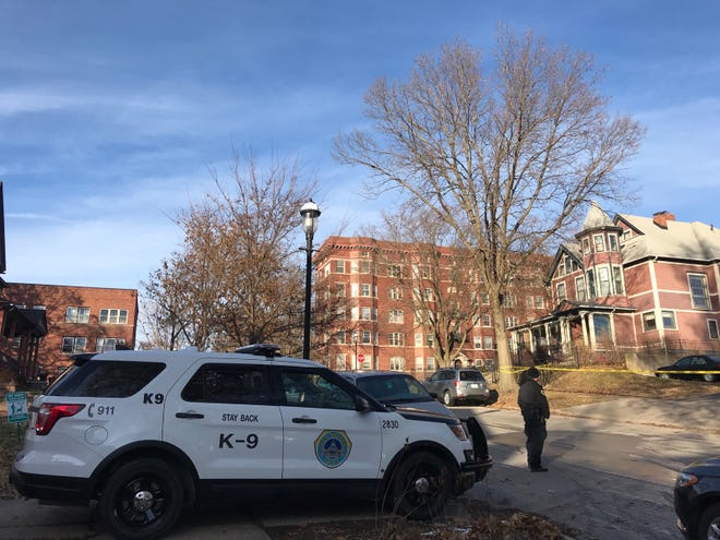 Des Moines police investigate a shooting Monday, Dec. 2, 2019, in the 600 block of 18th Street.