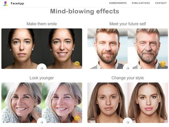 Russian-made FaceApp allows users to change ages and genders in photographic portraits.