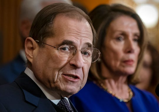 "In this March 7, 2019, file photo, House Judiciary Committee Chairman Jerrold Nadler, D-N.Y., and Speaker of the House Nancy Pelosi, D-Calif., speak to reporters at the Capitol in Washington. The House Judiciary Committee is moving to the forefront of President Donald Trump's impeachment, starting with a hearing Wednesday, Dec. 4 to examine the ""high crimes and misdemeanors"" set out in the Constitution."