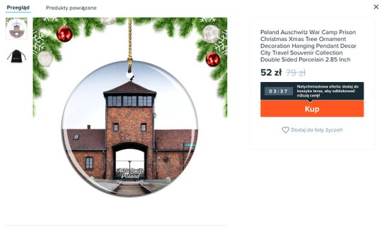 An ornament being sold on Amazon features images of Auschwitz concentration camp.