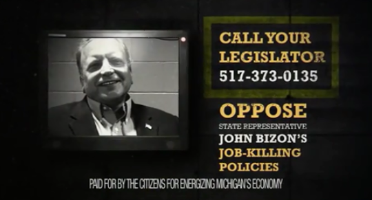 Citizens for Energizing Michigan's Economy, a nonprofit that ran ads about candidates for the state Legislature in 2018, spent about $12.9 million for the year, according to tax filing. This ad was critical of John Bizon, R-Battle Creek, who went on to win a seat in Senate.
