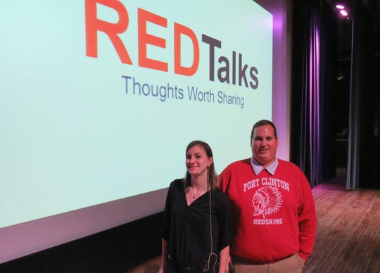 "Port Clinton High School Senior Emily Feuhrer and teacher Joe Miller present Red Talks. Feuhrer presented the first RED Talk on Nov. 21, ""Saying the A Word – Autism affects people all around us and it's time to talk about it."""
